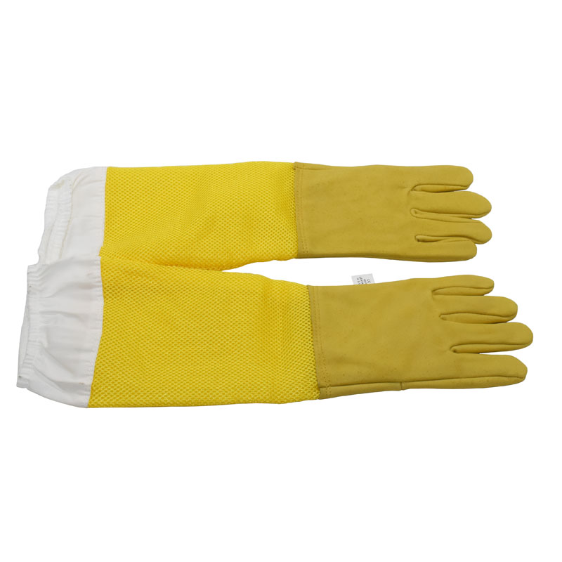 1set Beekeeping Gloves Protective Sleeves Breathable Yellow Mesh White Sheepskin And Cloth For Apiculture Beekeeping Gloves
