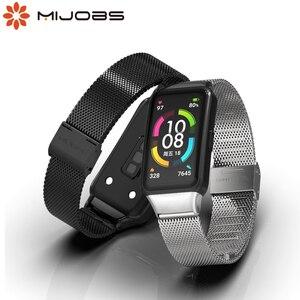 Image 2 - עבור Huawei להקת 6 רצועת לכבוד להקת 6 רצועת חכם צמיד שעון החלפת חגורת צמיד מתכת יד אבזרים