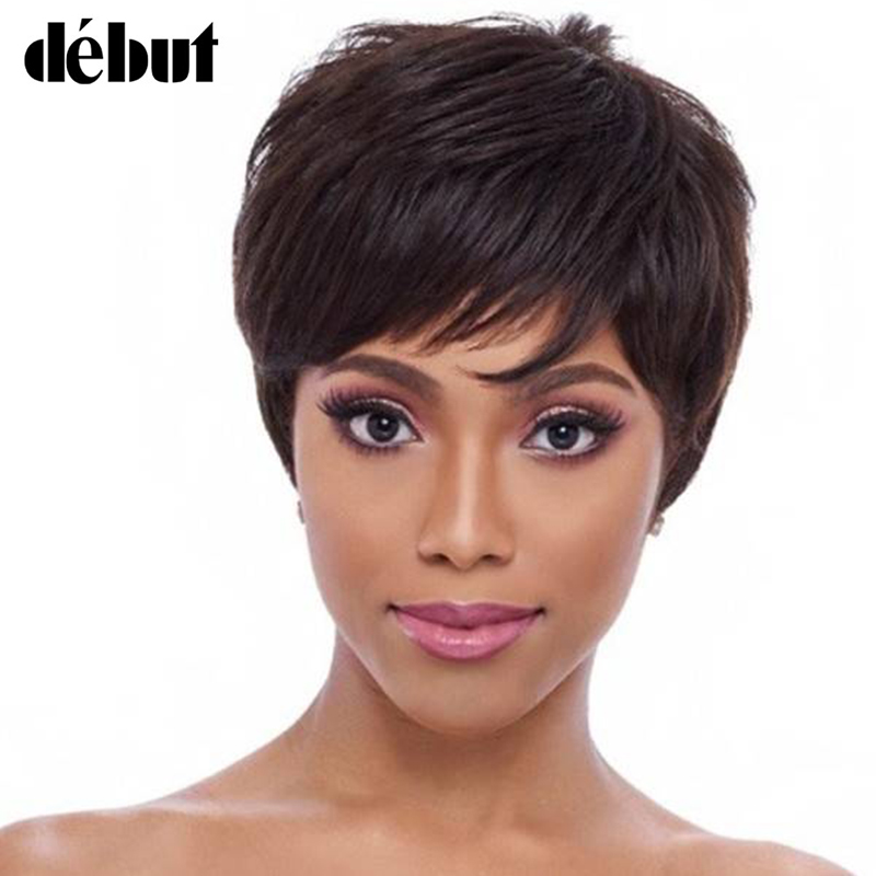 Debut Natural Color Short Human Hair Wigs For Black Women Pixie Cut Wig Ombre Brazilian 100% Human Hair Curly Wigs Cheep Wigs