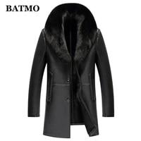 BATMO 2019 new arrival winter natural leather trench coat men,fox fur collar rain coat men 8889
