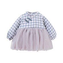 Autumn Dress for Girls Casual Baby Girls Long Sleeve Chinese Style Dot Print Mesh Dress Kids Pageant Princess Dresses #p girls dress new autumn england style girls clothes teenager long sleeve forest flower print princess dress kids dresses 5 12y