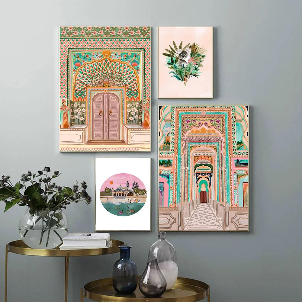 Cartel Vintage de puerta de Marruecos con acuarela, arquitectura de pasillo, imágenes artísticas impresas, sala de estar lienzo para, cuadro, decoración del hogar