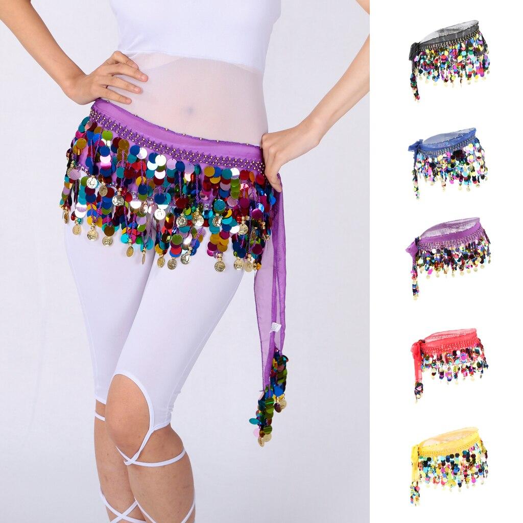 Women's Sequins Beads Belly Dance Skirt Hip Scarf Waistband Belt