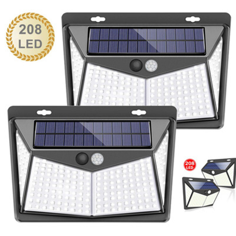 Solar Lamp 208LED Outdoor Solar Light Motion Body Sensor Solar Powered Spotlight 3 Modes Sunlight For Courtyard Street Lamp