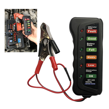 12V Car Battery Tester Digital Battery Alternator Status Analyzer For Auto Motorcycle Cranking System Check Diagnostic Tool image