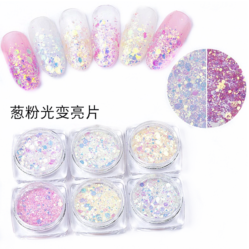 Mermaid Glitter Powder Glittering 3D Chameleon Color Sequins Discoloration in Case of Light Nail Art Decoration Polish Manicure