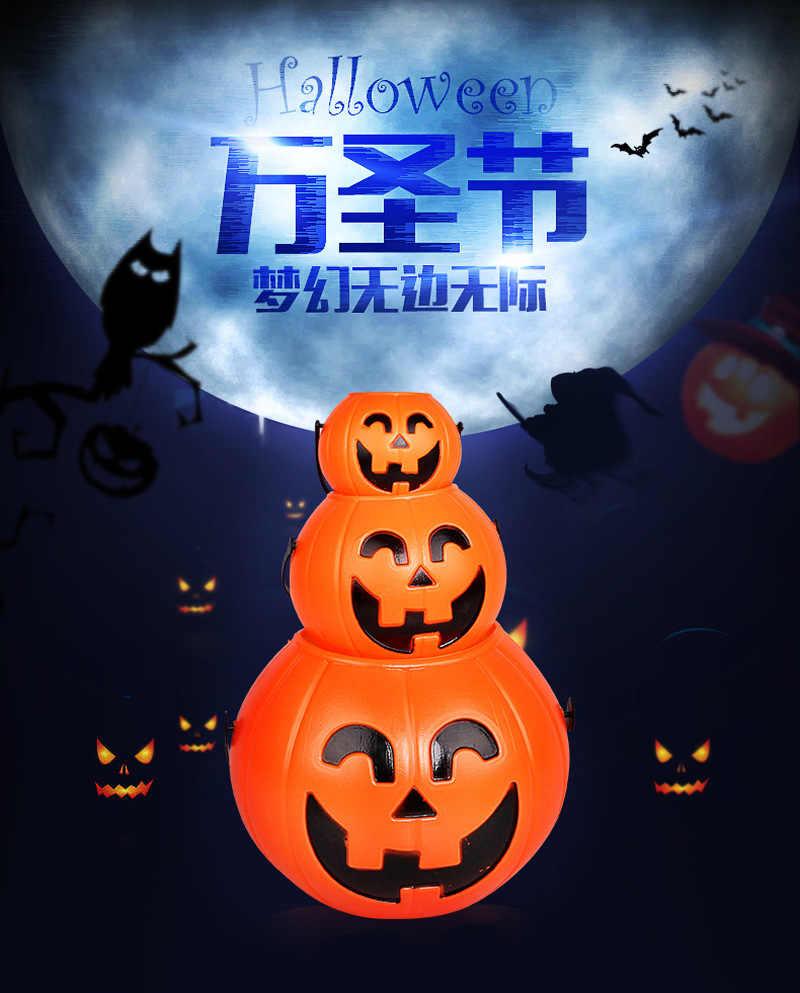 Halloween Party Props พลาสติกถังฟักทอง Trick Treat คอสเพลย์พลาสติกตกแต่งผู้ถือกระเป๋าตกแต่งฮาโลวีน