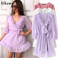 Klkxmyt summer dress women england style ruffle translucent sexy vestidos de fiesta de noche vestidos female party za dresses(China)