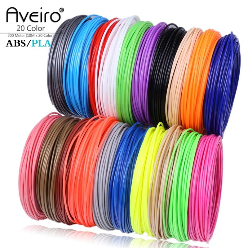Aveiro 50/100/200 medidor 1.75mm abs/pla material pla filamento 3d recarga para 3d caneta filamento abs plástico 3d canetas suprimentos cor