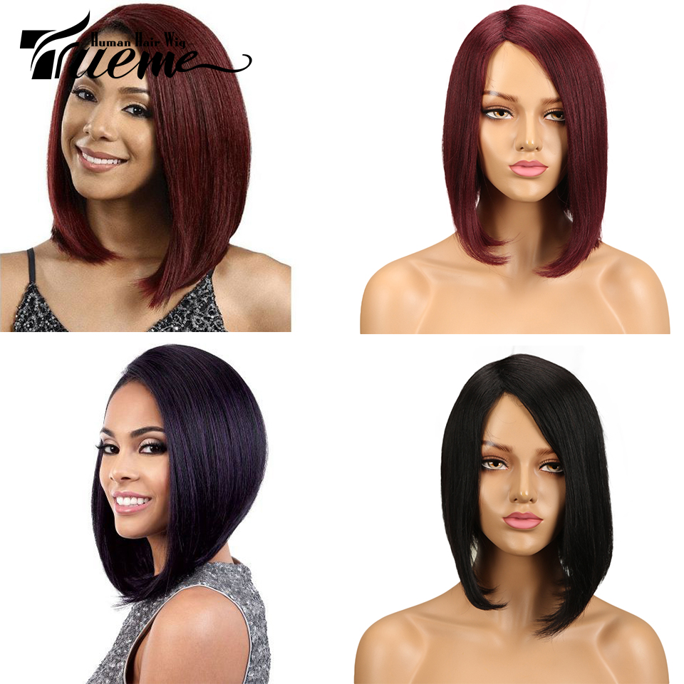 Trueme Fashion Ombre Red Color Human Hair Wigs For Women Brown Mix Remy Hair Wigs Brazilian Short Hair Full Wigs