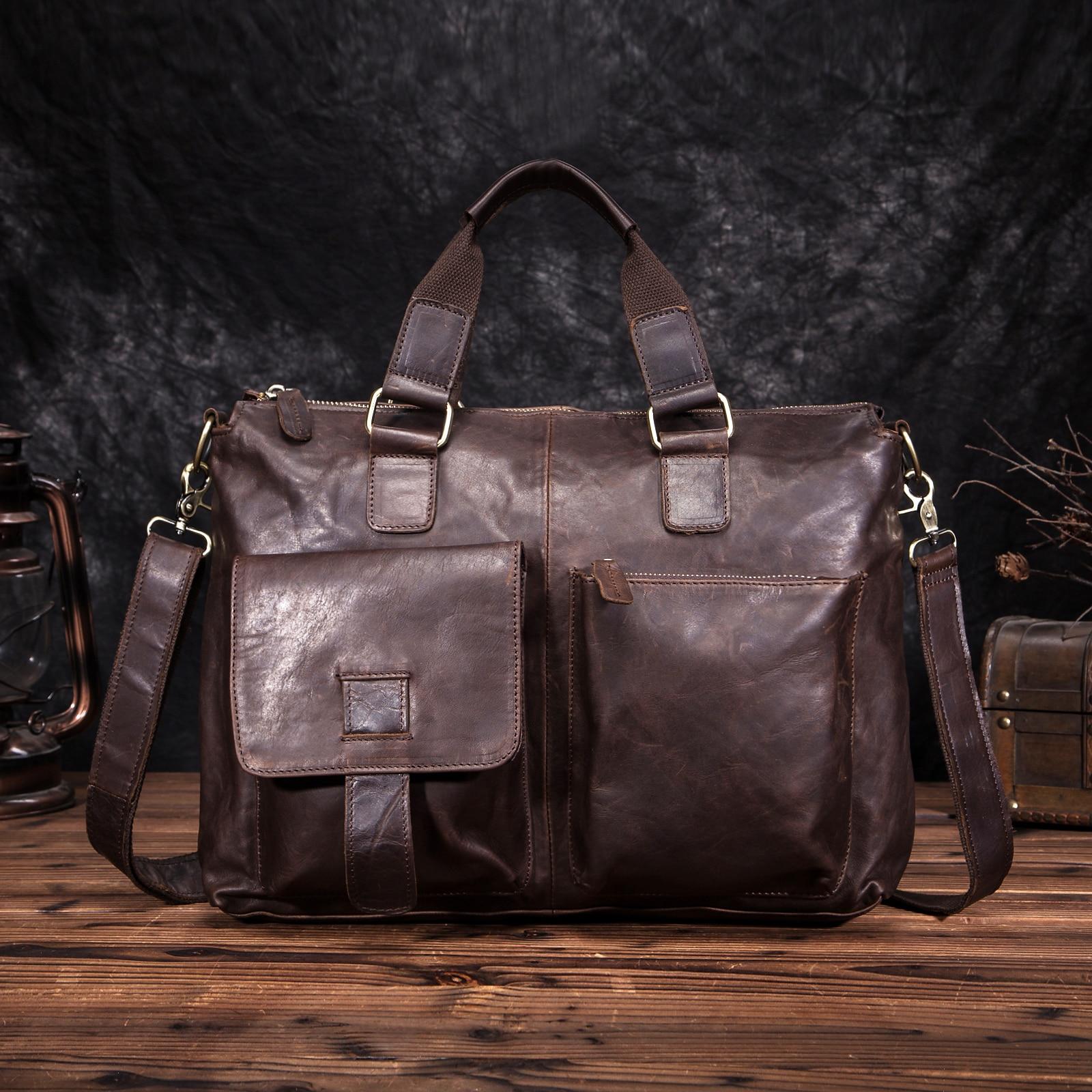 Men Quality Leather Antique Retro Business Briefcase 15