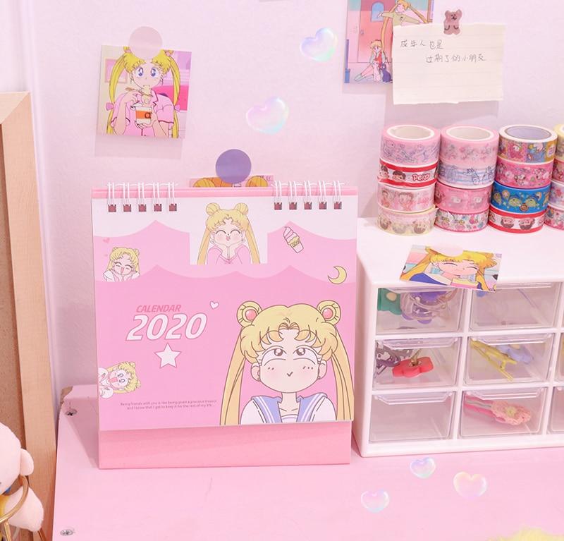 2020 Cartoon Sailor Moon Desk Calendar DIY Table Calendars Daily Schedule Planner Desktop Book School Office Supplies
