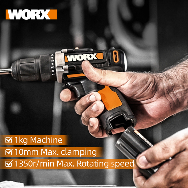 Worx 12V Electric Drill Driver WX128.1 Cordless Screwdriver Electric Mini Hand Drill Wireless Household Power Tools Rechargeable 6