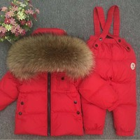 2019 Children's Winter Suit for Girls Warm Down Fur Boys Snow Sutis Sports Real Fur Kids Clothing Sets Windproof Child Outfits
