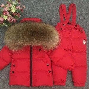 Image 2 - 2020 Kinderen Winter Pak Voor Meisjes Warm Down Fur Jongens Sneeuw Sutis Sport Echt Bont Kinderkleding Sets Winddicht kind Outfits