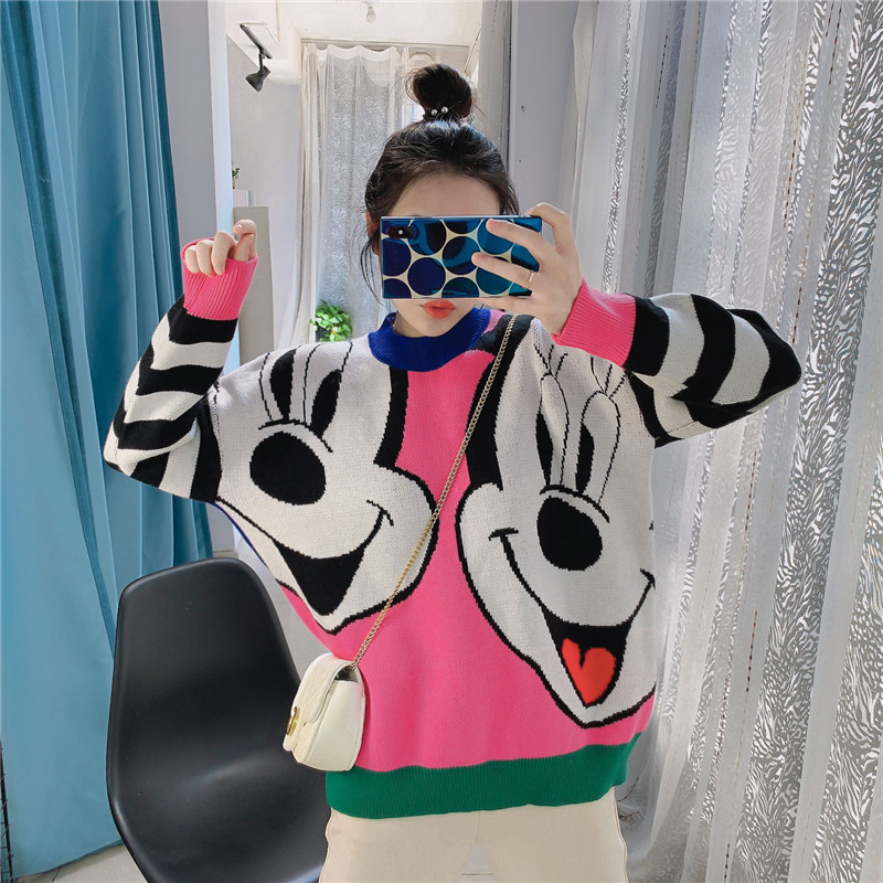 2019 Autumn Winter New Bear Women Sweater Loose Cartoon Thicken Pullovers Jumper Female Kawaii Cute Knitted Tops