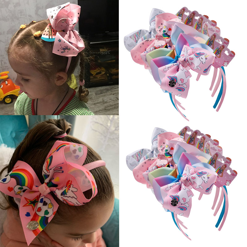 6Pcs/lot Jojo Siwa Hairband For Girls Unicorn Print Ribbon Hair Bows Headband Handmade Boutique Hair Hoop Hair Accessories