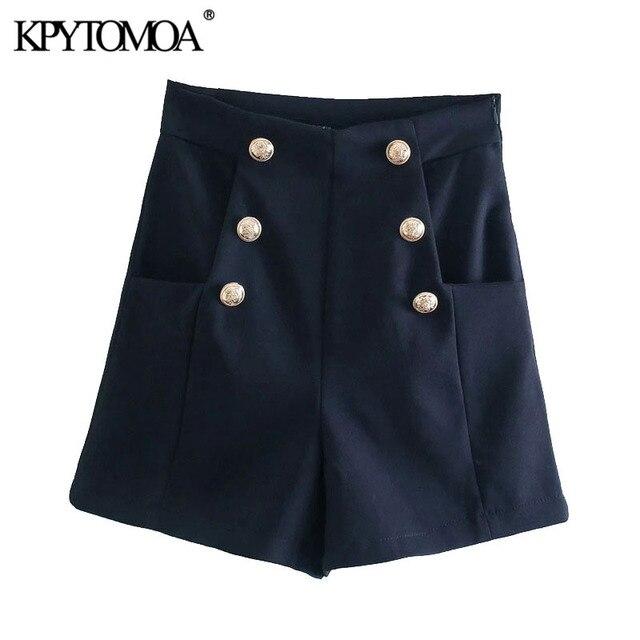 KPYTOMOA Women 2021 Chic Fashion With Metal Buttoned Bermuda Shorts Vintage High Waist Side Zipper Female Short Pants Mujer 1