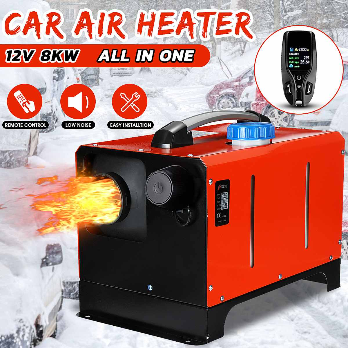 8KW 12V All In One Car Heater Diesels Air Parking Heater 8000W Single Hole+LCD Remote Control Warmer For Car Truck RV Bus Boat