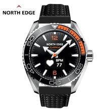 North Edge 남자 스포츠 스마트 시계 방수 50M 보수계 심장 박동 모니터 피트니스 트래커 플로트 터치 tec 스크린 시계