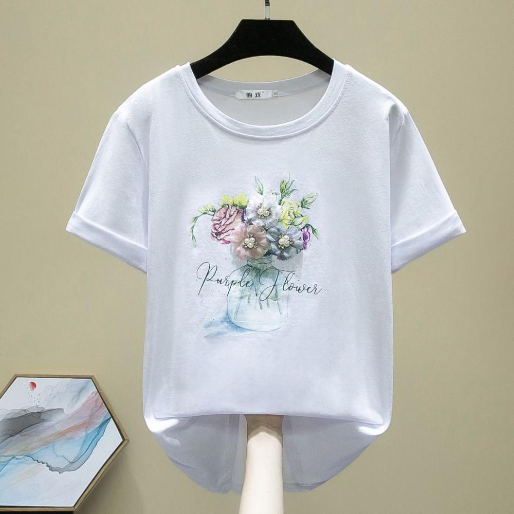 New 2020 Women 3D Flowers Appiques Tshirt Fashion Girl Print Chic Top Student Tees Plus Size S-3XL