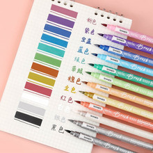 6 / 12 Color Sketch Marker Fluorescent Pen Stationery Lovely School Supplies Double Head Color Changing Marker Posca Art Copic