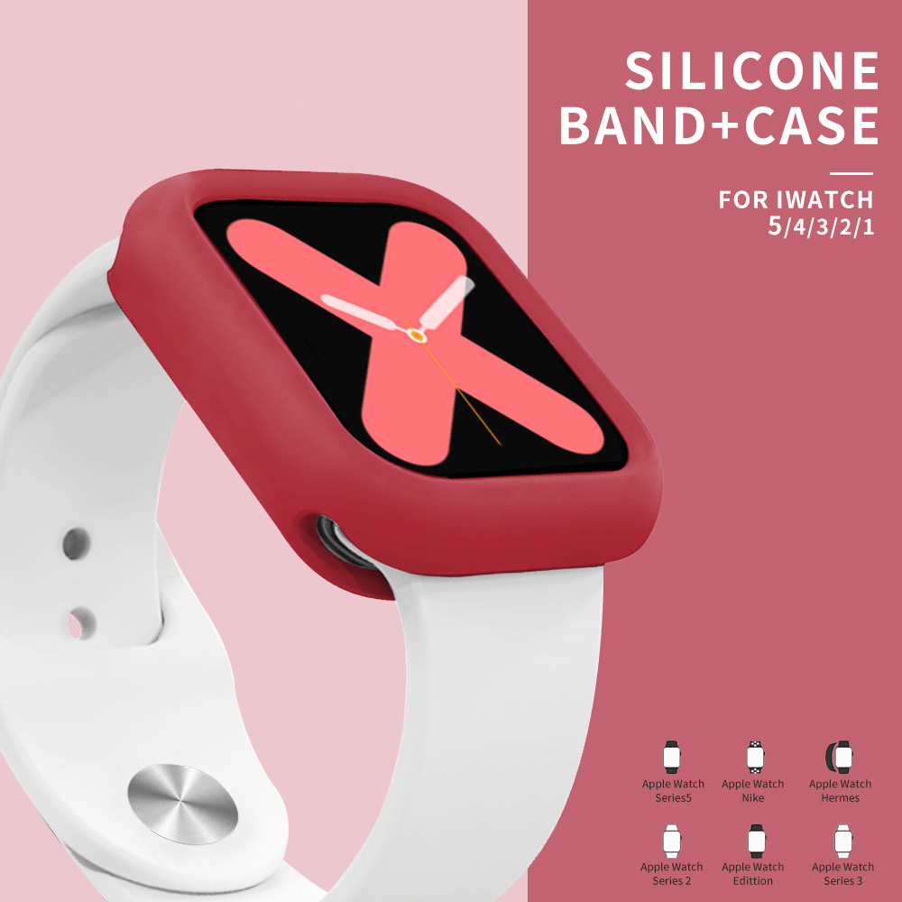 Soft Silicone Sports Band For Apple Watch 5 4 3 2 1 38MM 42MM Bands Rubber+case Watchband Strap For Iwatch Series 5 4 40mm 44mm