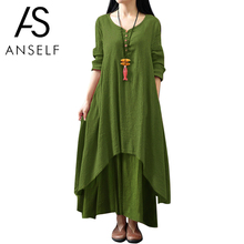 Anself Spring Fashion Women Casual Loose Dress Solid Color Long Sleeve Oversized Ladies Dresses Plus Size Boho Long Maxi Dress