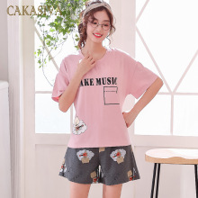 Pyjamas Women 2020 Summer Short Sleeve Cotton Home Clothes Women Night Suit Two Piece Plus Size Slee