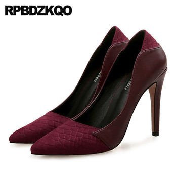 ladies low heels shoes extreme big size snakeskin pointed toe vintage 12 44 10 42 wine red high ultra kitten pumps super 8cm