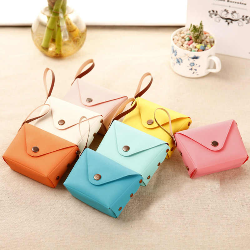 Candy color Coin Purses Creative Macaron Hand bag Mini Coin bag Key case Wallet PU Leather Portable Handbag for children girls