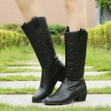 Lucyever 2020 automne hiver Vintage PU cuir Cowboy bottes pour femmes fourrure à lintérieur sans lacet équitation mi mollet chaussons grande taille