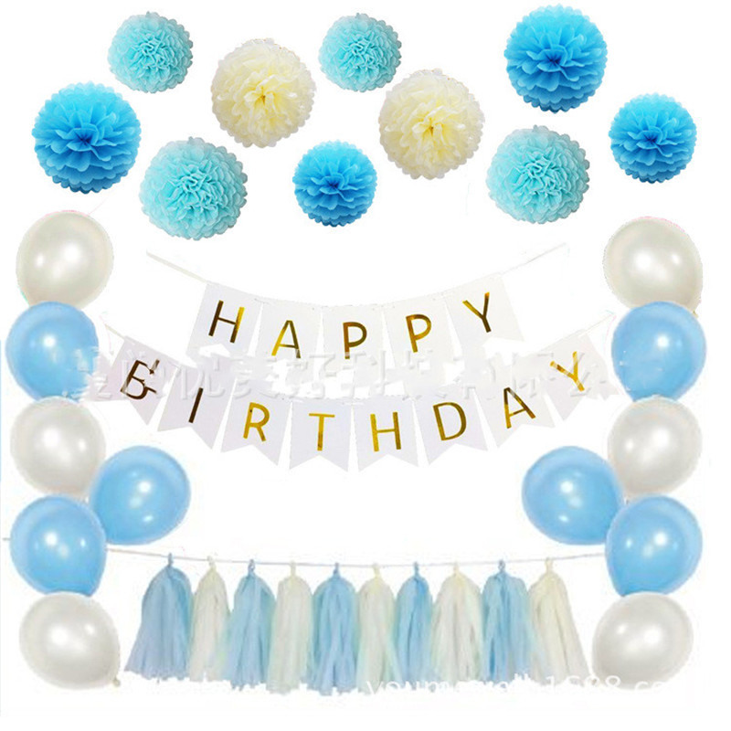 Blue Paper Flower Ball Theme Baby Party Decorations Set Newborn Baby Boys Girls Birthday Party Baby Shower Party Children's Day