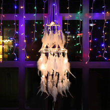 Dream Catcher Pure Handmade New Creative Night Lamp Double-decked Dreamnet Wind Bell Pendant Adorable Girl Room Decoration(China)