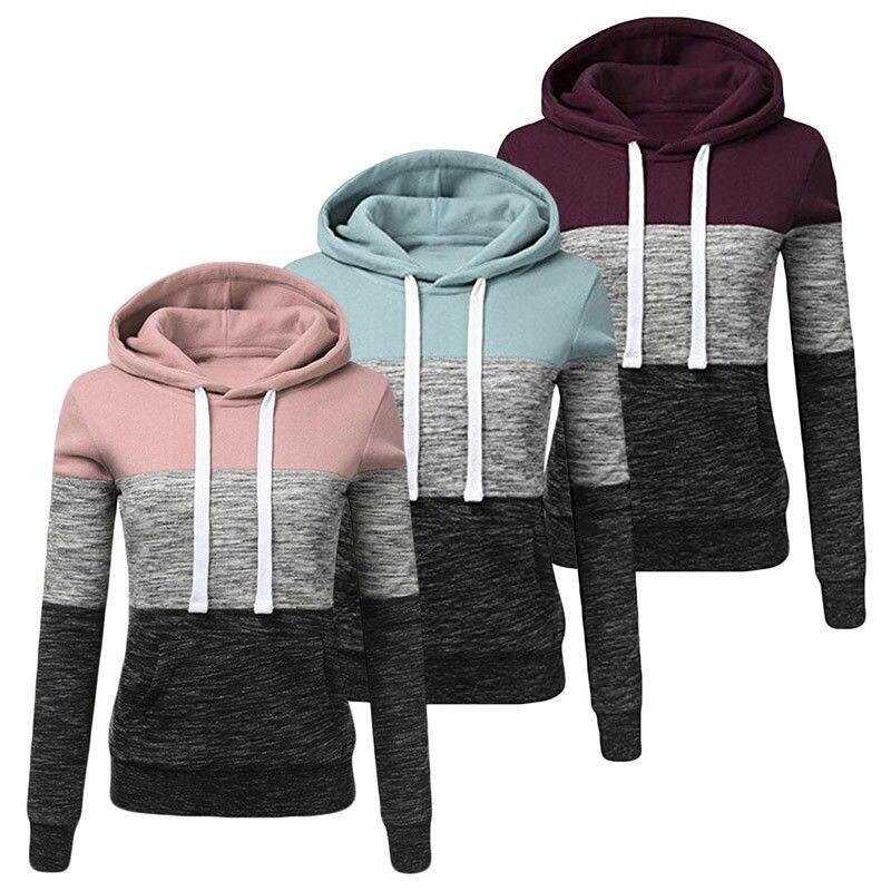 Patchwork Hoodie Sweatshirt Ladies Casual Fashion Hoodie Ladies Hooded Warm Pullover Women Kpop Couple Clothing