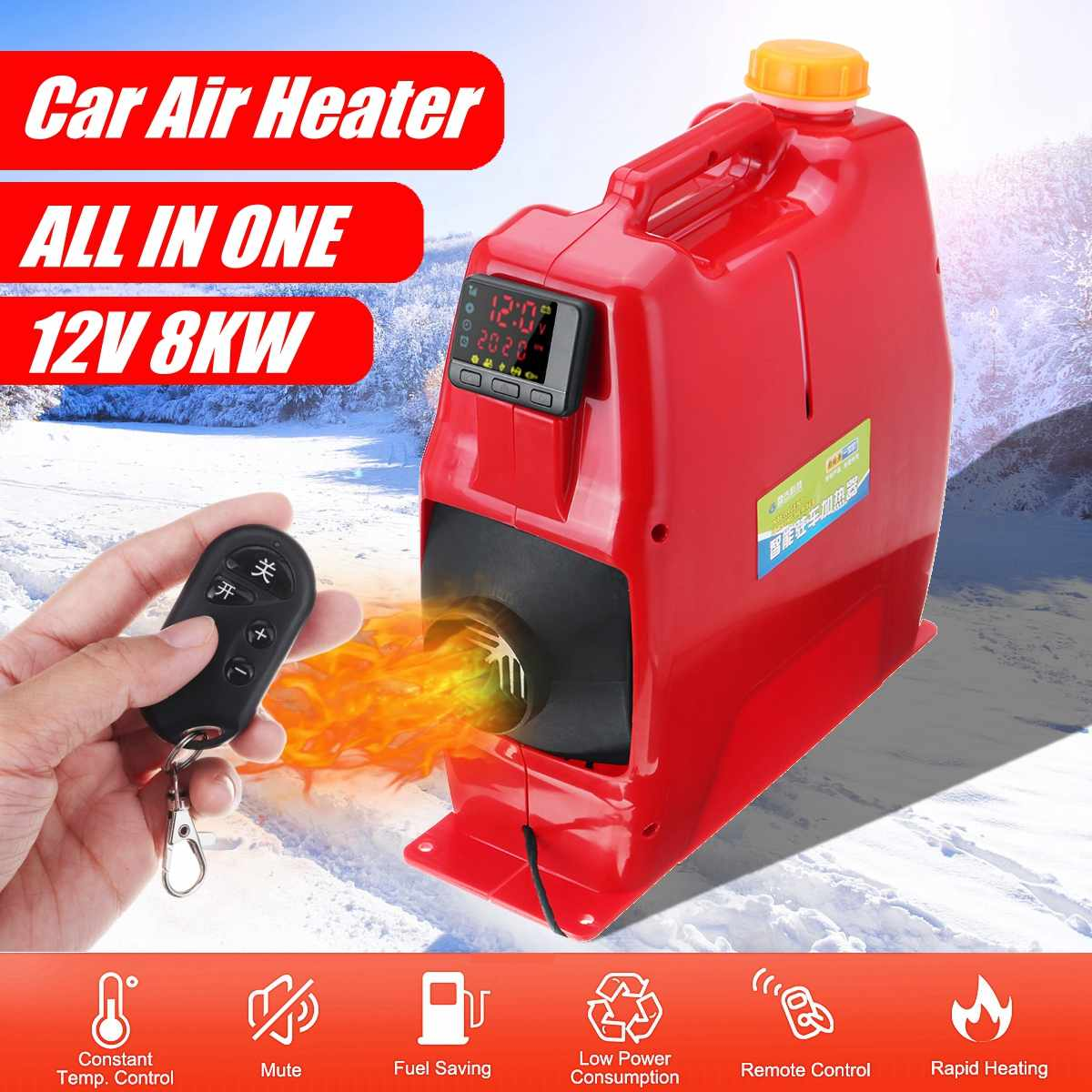 All in One Unit 8KW 12V Car Heating Tool Diesel Air Heater Single Hole LCD Monitor Parking Warmer For Car Truck Bus Boat RV
