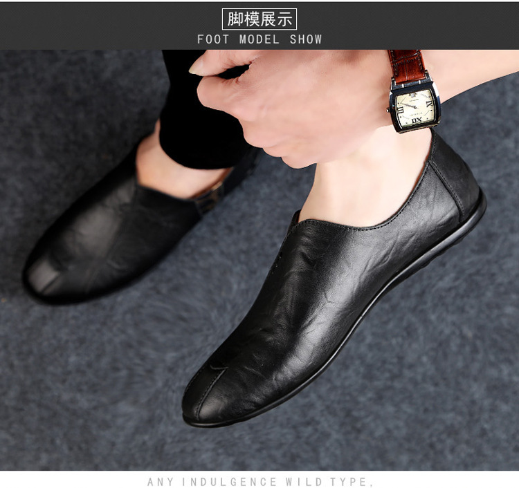 Solid Spring Autumm Casual Loafers Shoes for Men Classics Concise Light Flat Slip On Shoes Fashion Leisure Driving Shoes 38