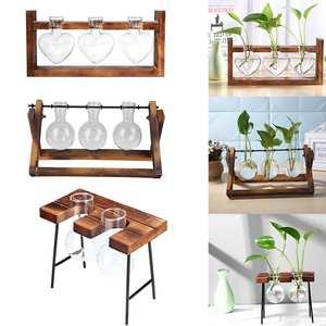 Flower-Pot Hanging-Pots Planter Wood-Vase Terrarium-Table Glass Desktop Hydroponics-Plant