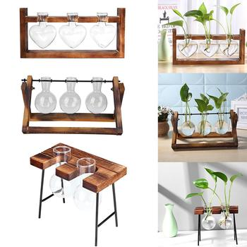 Glass and Wood Vase Planter Terrarium Table Desktop Hydroponics Plant Bonsai Flower Pot Hanging Pots with Wooden Tray Home Decor 1