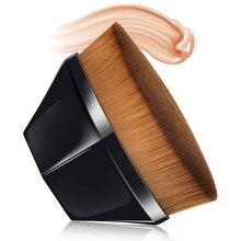 Escova portátil da fundação da composição da escova superior plana kabuki hexágono rosto blush pó fundação escova para o creme impecável-pó cosméticos