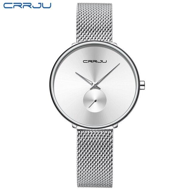 CRRJU Women's Watches 2019 Luxury Ladies Watch Fashion Minimalist Waterproof Slim Band Watches for Women Reloj Mujer
