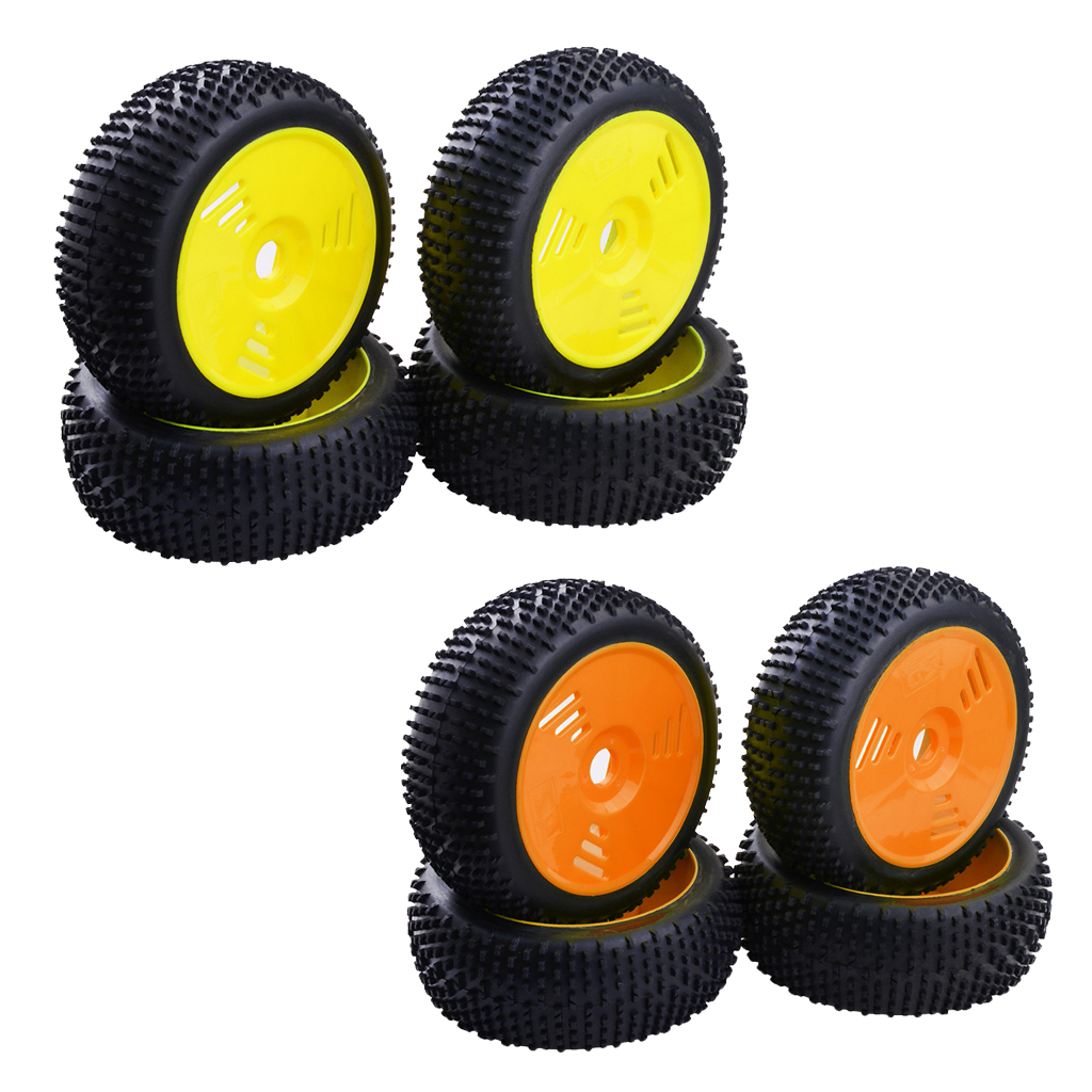 4Pcs 17mm Hub Wheel Rim & Rubber Tire Tyres for HSP, Kyosho, Hongnor, HPI, Team Losi, Redcat, FS 1:8 RC Buggy Truggy(China)