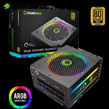 GameMax БП True Номинальная 1050 Вт RGB Питание полностью модульный с сертификацией 80 PLUS Gold с цветовой моделью RGB светильник режим Питание для компью...