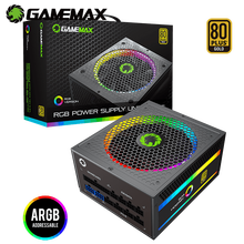 GameMax Power Supply RGB-1050-Rainbow Fully Modular 80PLUS Gold Certified with Addressable RGB Light Power Supplies for Computer