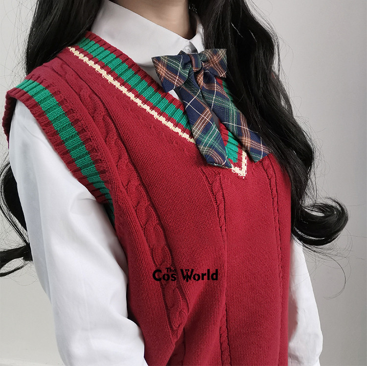 Christmas XMAS New Year Spring Autumn Red Sleeveless Knit Vests Pullovers V Neck Sweaters For JK School Uniform