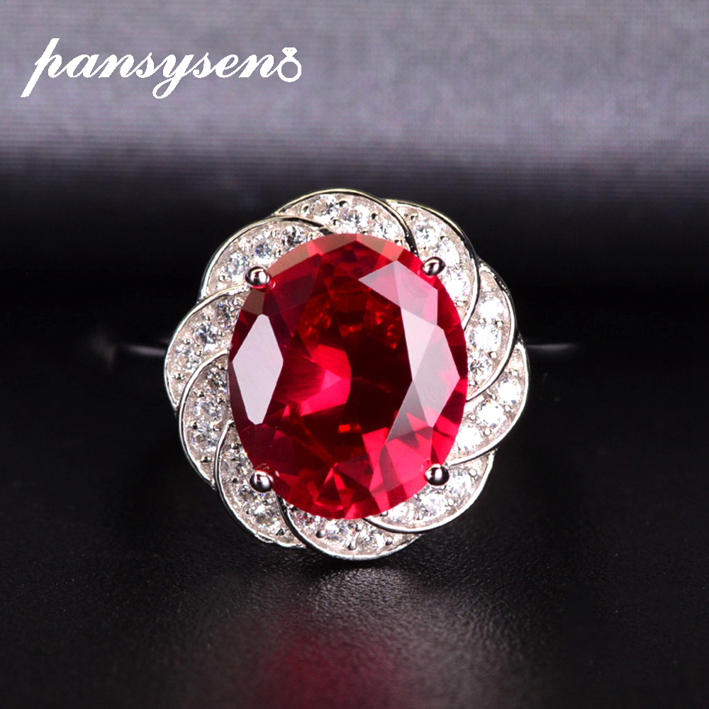 PANSYSEN Charms Ruby Open Adjustable Rings For Women 100% Real 925 Sterling Silver Luxury Gemstone Jewelry Ring Wedding Gifts