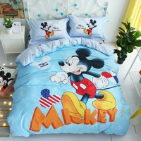 Disney Cartoon Mickey Minnie Mouse 3D Printed Bedding Set for Childrens Girls Bedroom Decor Cotton Duvet Cover Set 1.5m Bed Gift