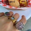 HUANZHI 2020 новые винтажные барочные блестки, прикрепляемые цветные преувеличенные Кристальные инкрустированные металлические кольца для жен...