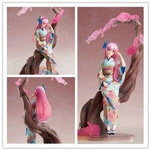 Аниме-игра 25 см, кимоно Хацунэ Мику, версия модели, ПВХ, фигурка Вокалоида 3, виртуальный идол, украшение, японская кукла