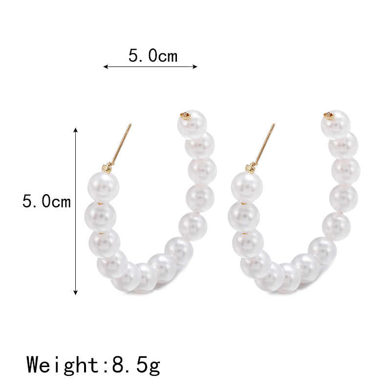 LATS מגמה קוריאנית סימולציה פרל ארוך עגילי נשים של חצי מעגל פרל עגילי חתונה תליון עגילי תכשיטים